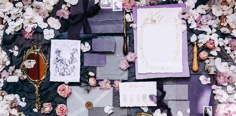 Lilac and lavender wedding invitations and stationary