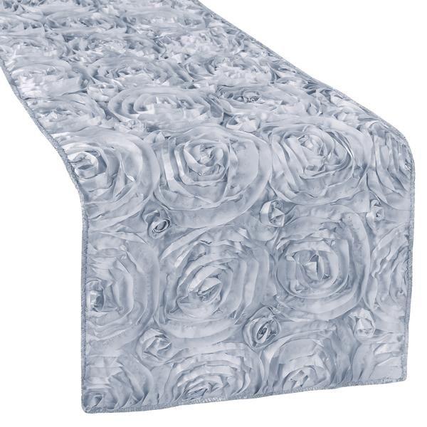 Wedding Rosette SATIN Table Runner - Dusty Blue