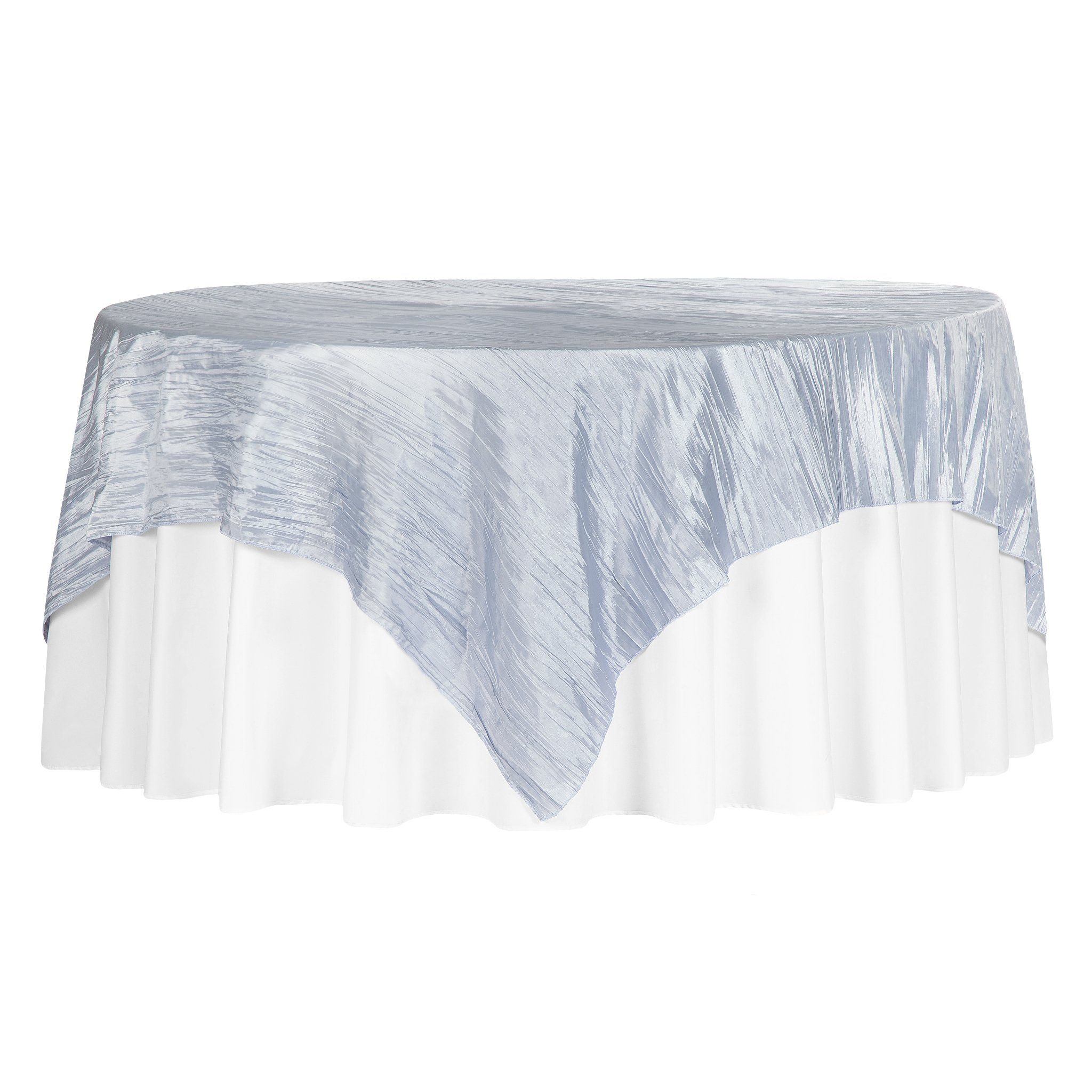 "Accordion Crinkle Taffeta Table Overlay Topper 85""x85"" Square - Dusty Blue"