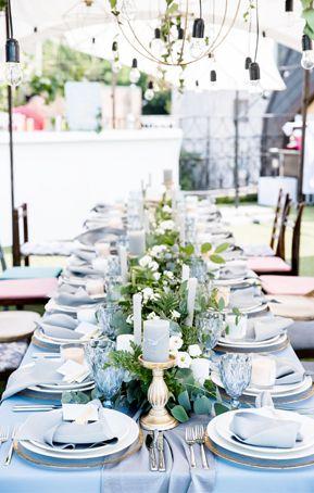 Modern dusty blue chiffon and gold wedding outdoor reception