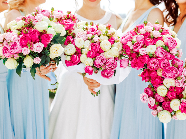 Fuchsia and dusty blue bridal party for spring