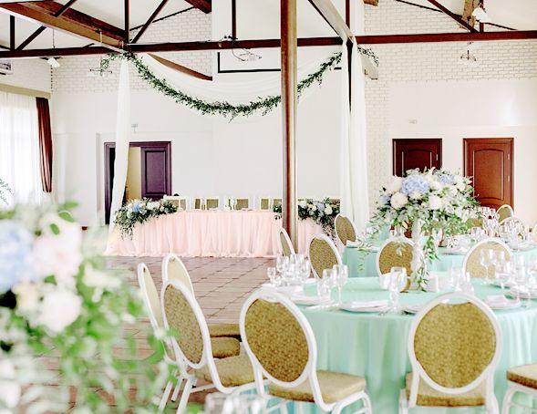 Blush pink and seafoam green indoors spring wedding reception