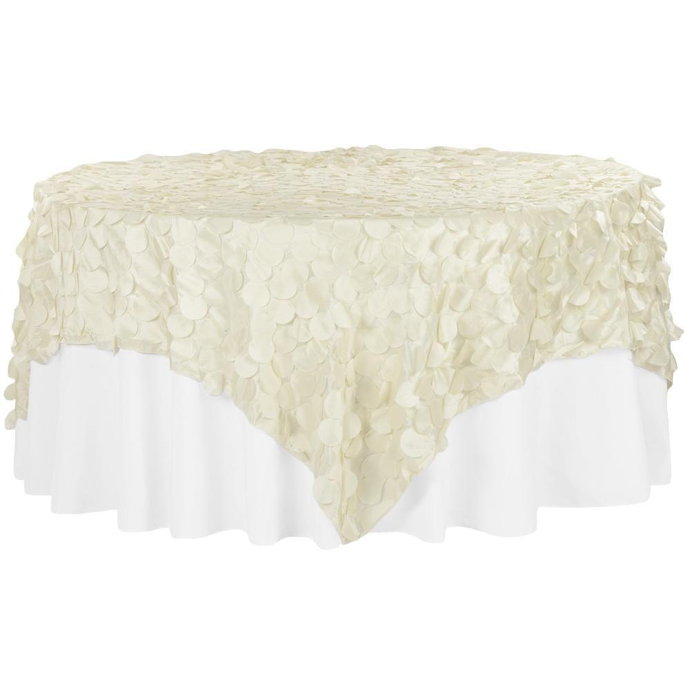 "Petal Circle Taffeta 90""x90"" Square Table Overlay - Ivory"