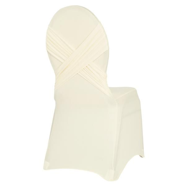 Cross Back Stretch Spandex Banquet Chair Cover - Ivory