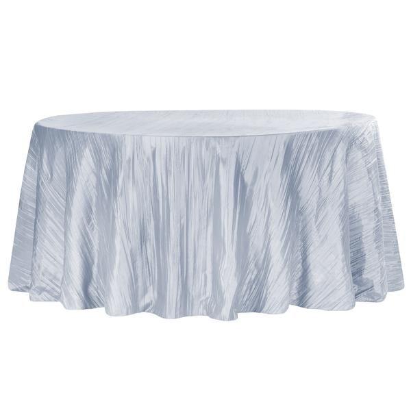 "Accordion Crinkle Taffeta 132"" Round Tablecloth - Dusty Blue"