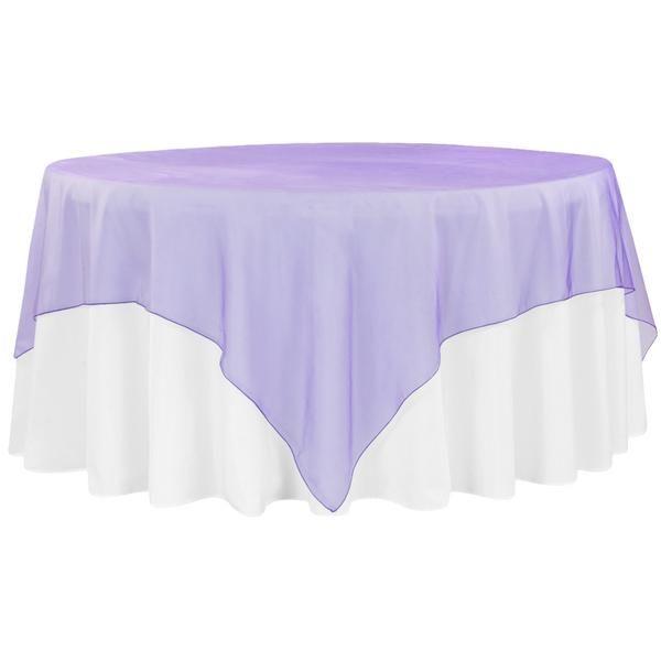 """Organza 90""""x90"""" Square Table Overlay - Purple"""