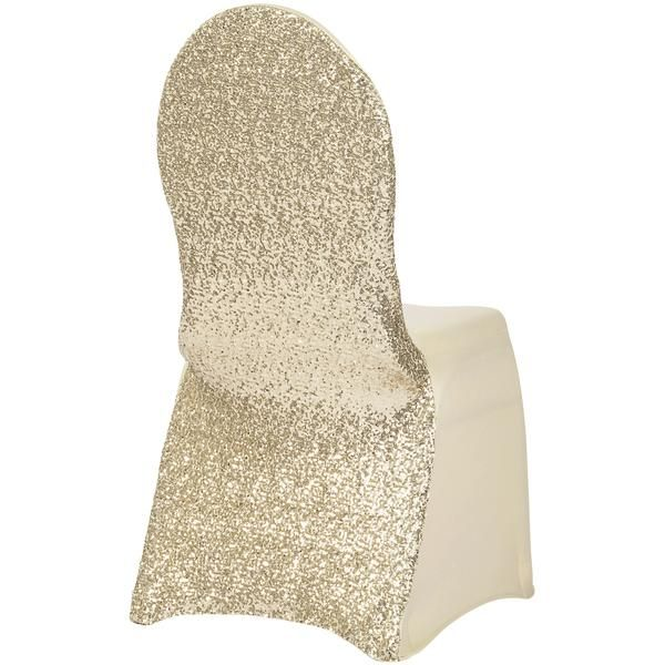 Glitz Sequin Stretch Spandex Banquet Chair Cover - Champagne