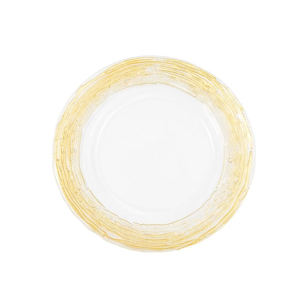 Glass Charger Plate with Twigs Trim - Gold