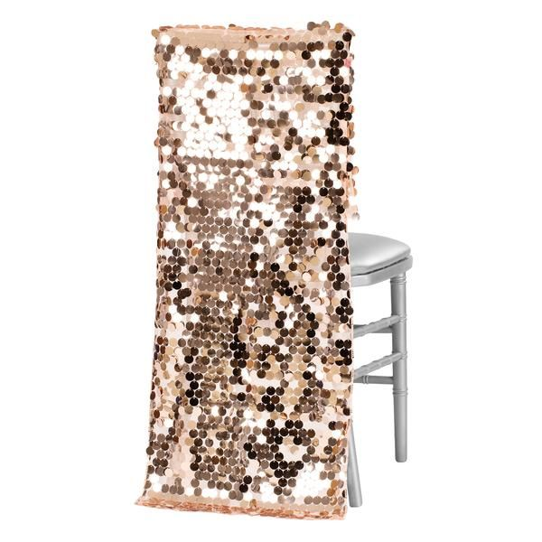Payette Sequin Chiavari Chair Back Cover - Blush/Rose Gold