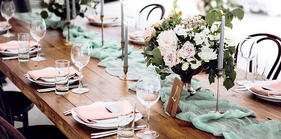 Seafoam green and blush rustic modern wedding reception table outside