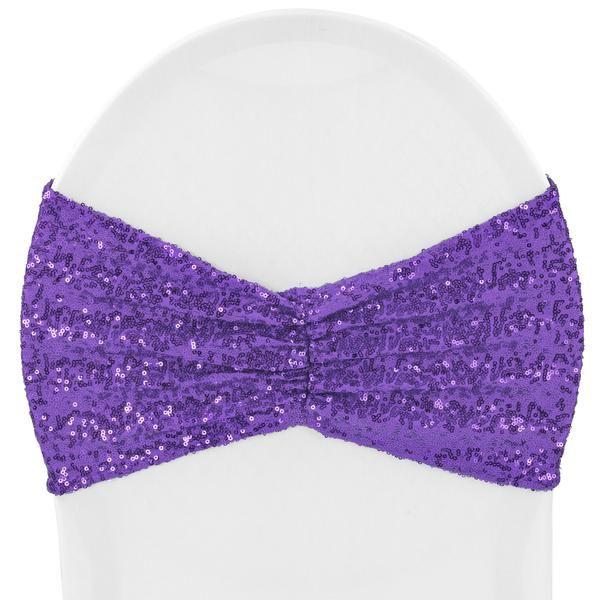 Glitz Ruffle Sequin Spandex Chair Band Sash - Purple