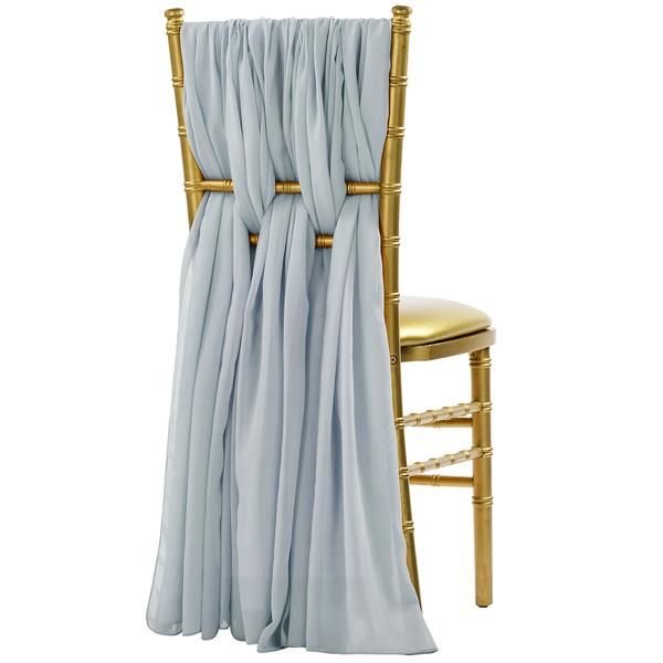 5pcs Pack of Chiffon Chair Sashes/Ties - Dusty Blue