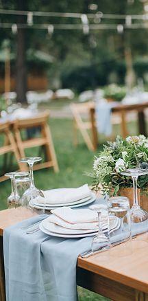 """Chiffon Wedding Table Runner 27""""x120"""" - Dusty Blue"""