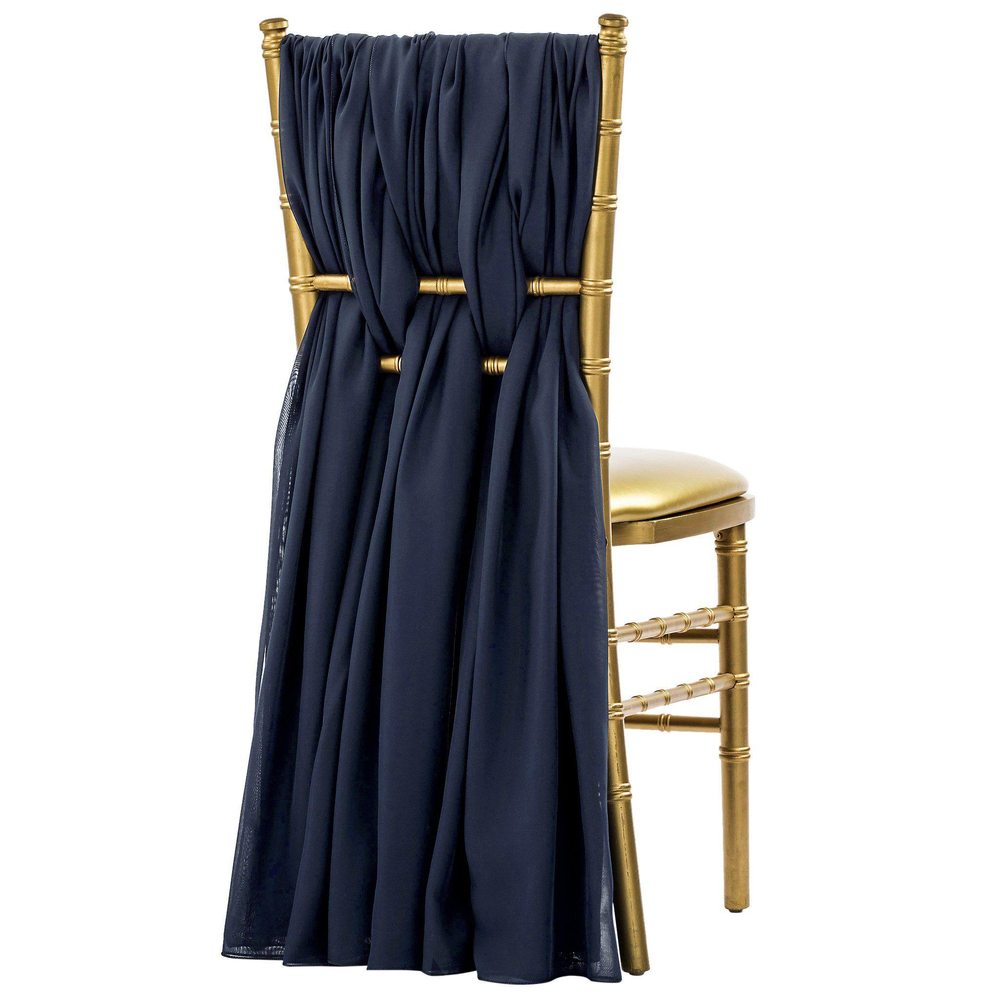 5pcs Pack of Chiffon Chair Sashes/Ties - Navy Blue
