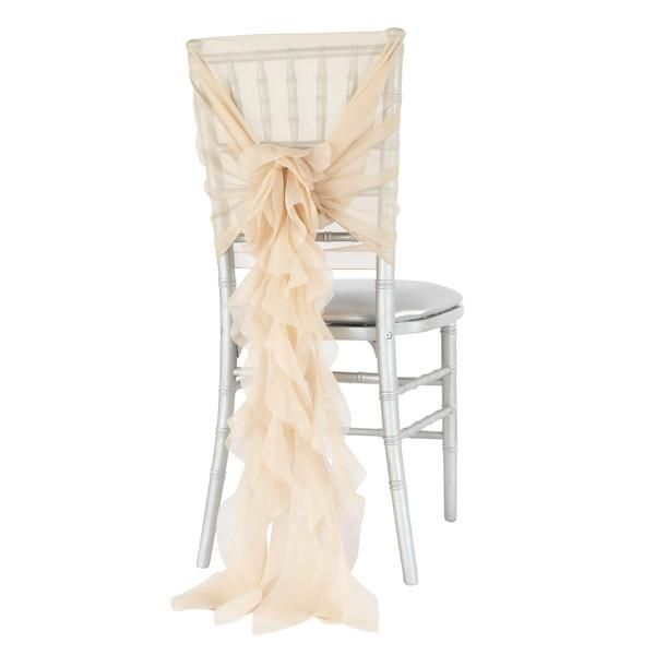1 Set of Soft Curly Willow Ruffles Chair Sash & Cap - Champagne