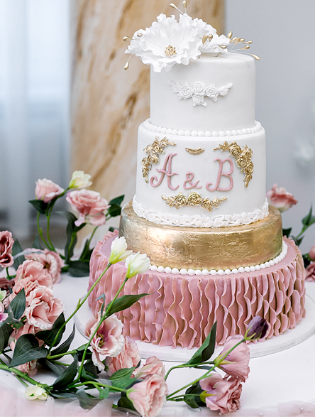 Dusty Rose and Gold Cake