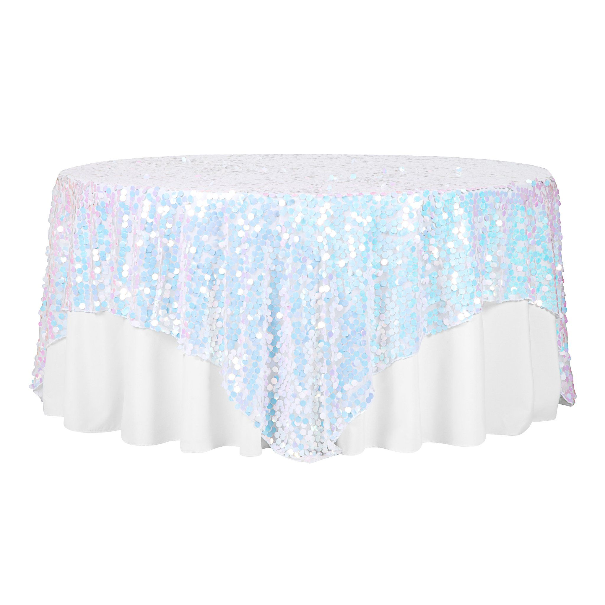 "Large Payette Sequin Table Overlay Topper 90""x90"" Square - Iridescent White"