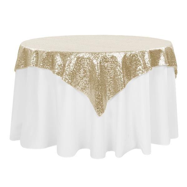 """Glitz Sequin Tablecloth Overlay Topper 54""""x54"""" Square - Champagne"""