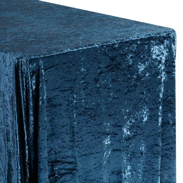 "Velvet 90""x132"" Rectangular Tablecloth - Navy Blue"