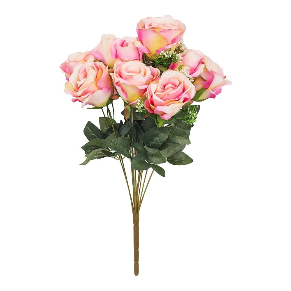 Silk Rose Bush 12 heads - Pink