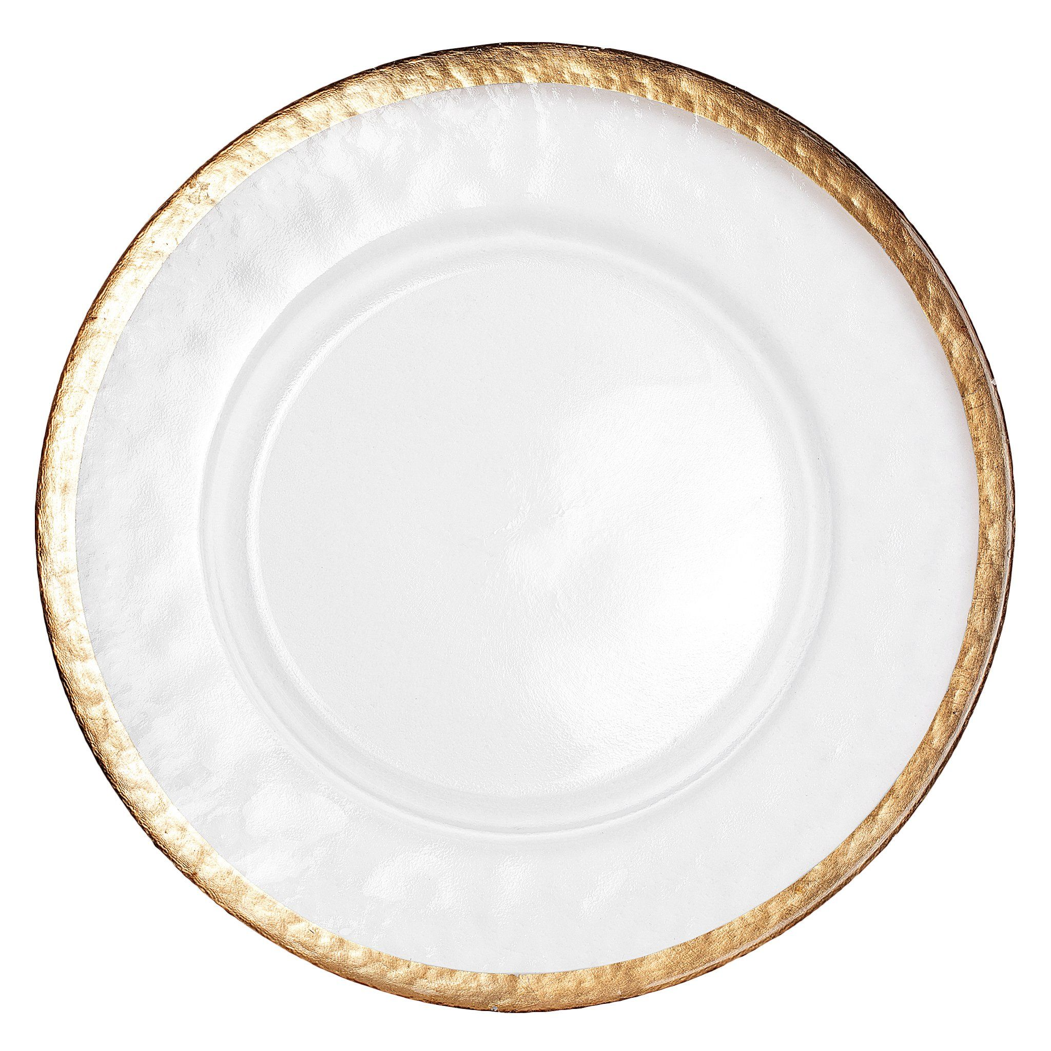 Alpine Glass Charger Plate - Gold trim