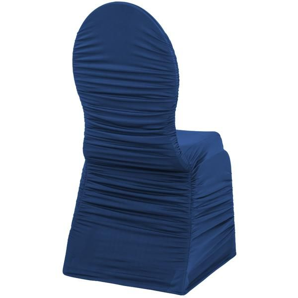 Ruched Fashion Spandex Banquet Chair Cover - Navy Blue