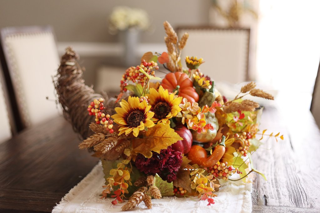Grapevine Harvest Cornucopia with Golden Sunflower, Wheat Hops with Pumpkins & Gourds
