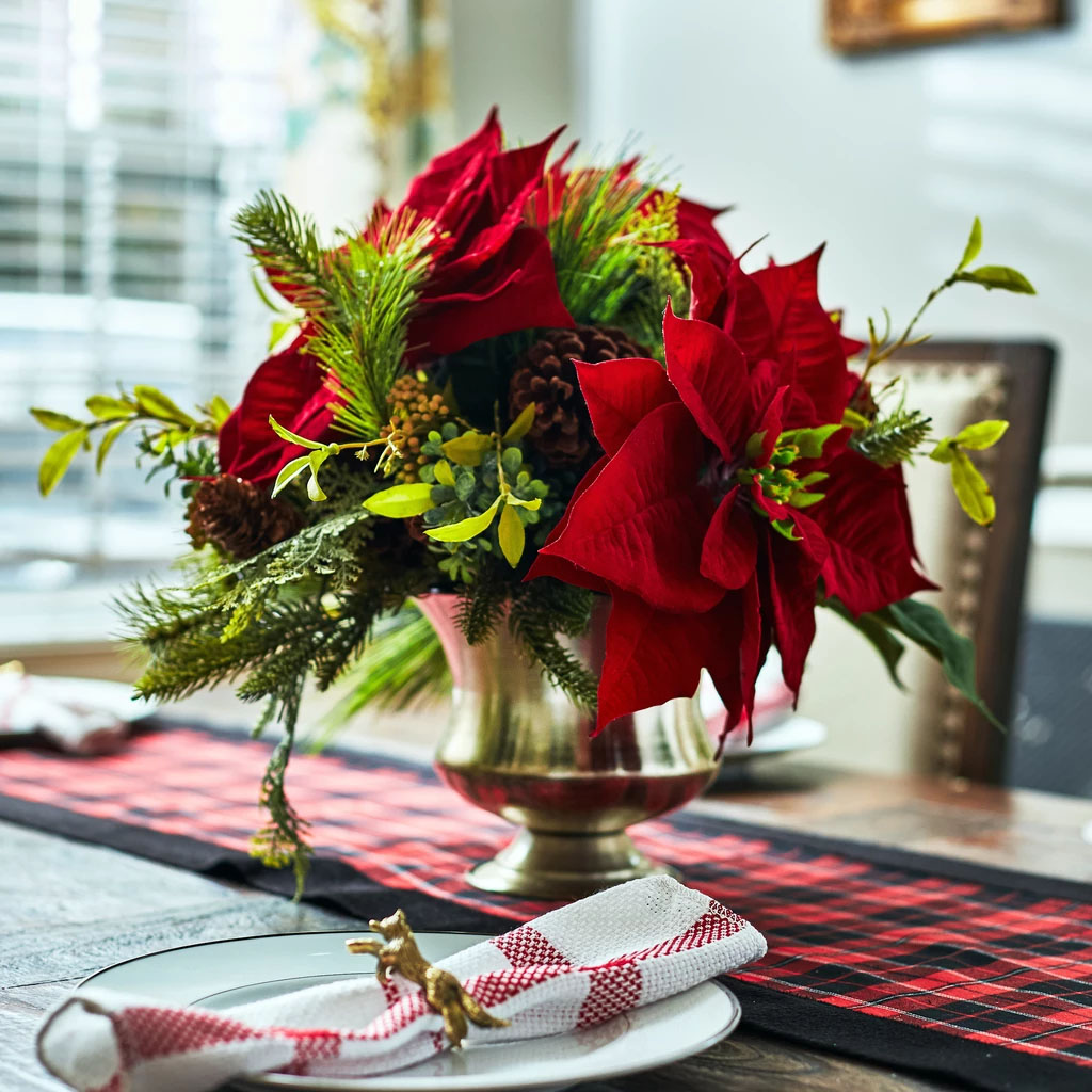Red Velvet Christmas Poinsettia, Cedar & Boxwood Floral Arrangement in Large Metal Urn