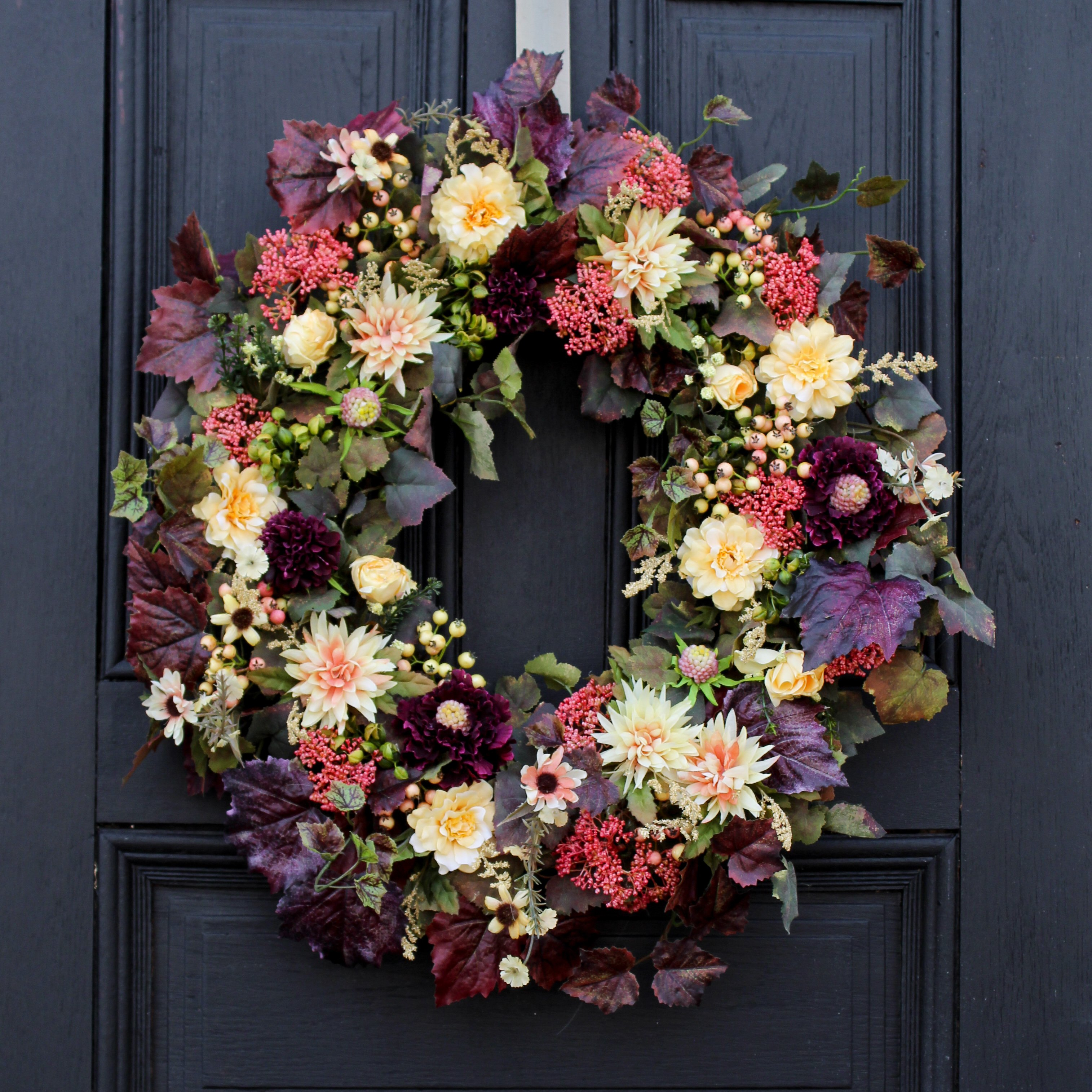 Merlot & Mauve Wildflowers and Mums Fall Front Door Wreath