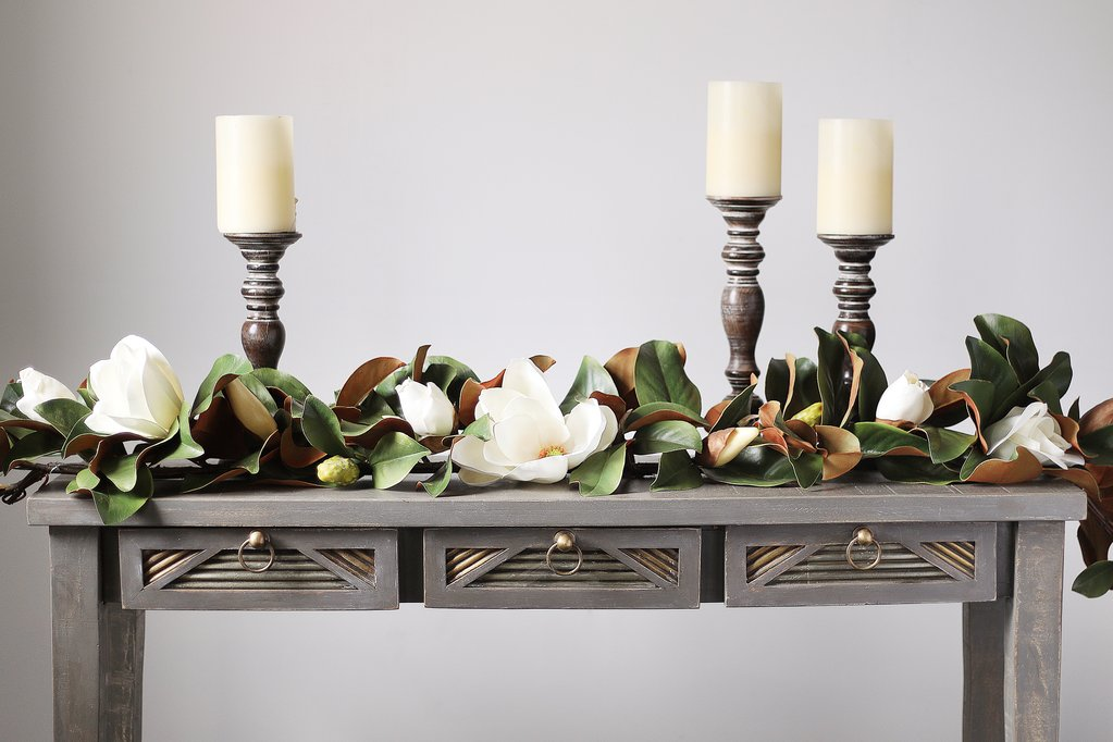 Real Touch White Magnolia Flower & Leaf Table Runner