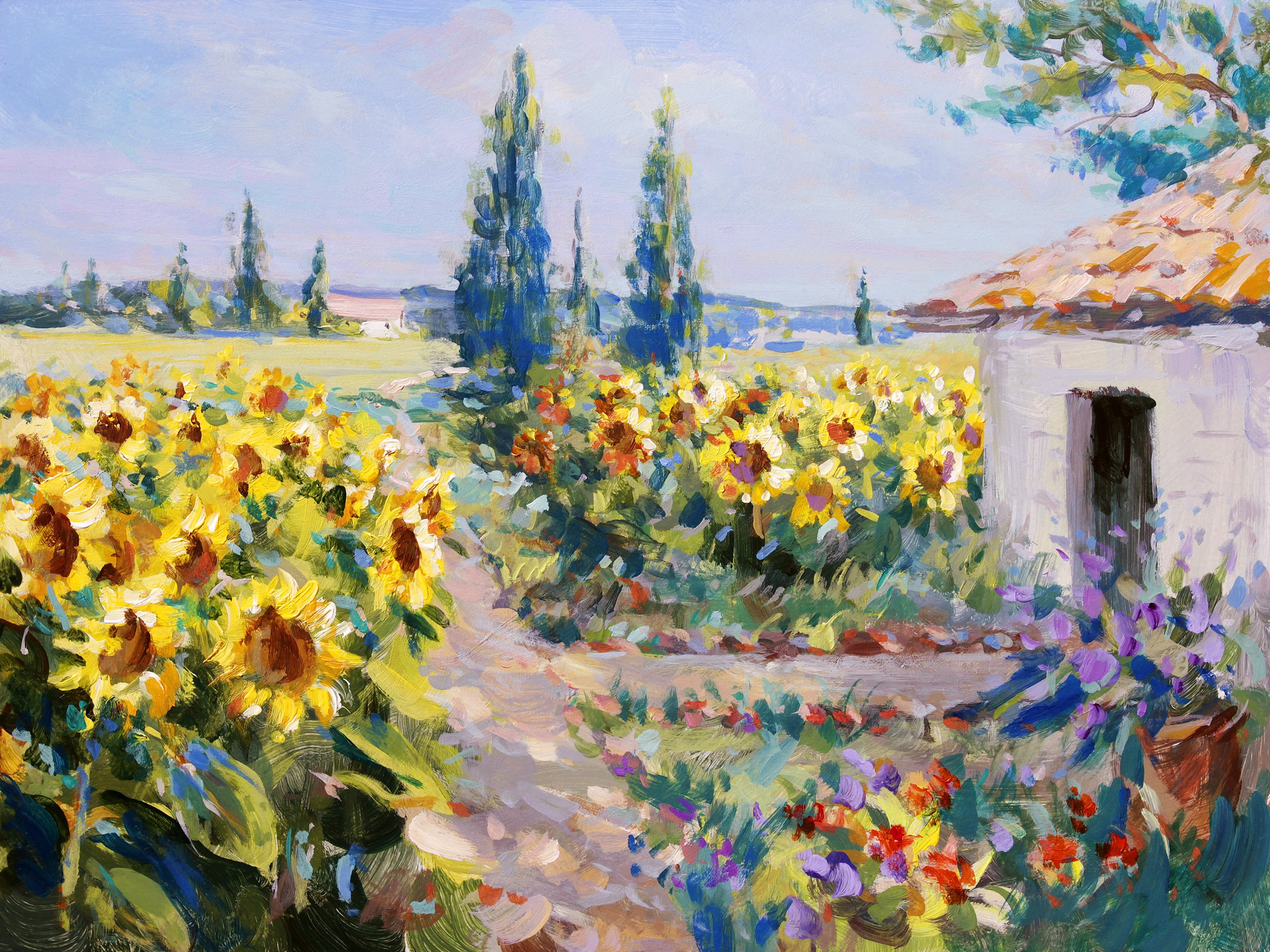 Sunflower Cottage Large Outdoor Canvas Art