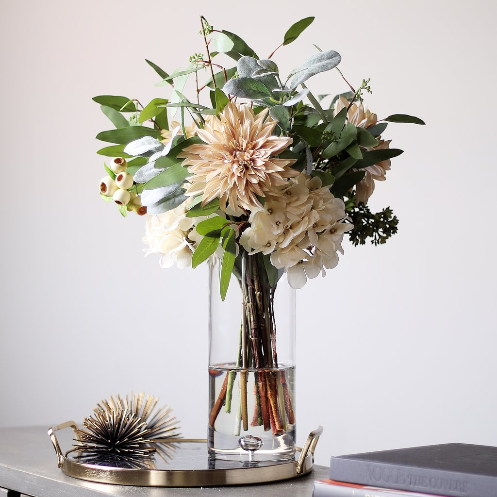 All Seasons Cream Dahlia, Hydrangea & Lamb's Ear Floral Arrangement in Glass Vase