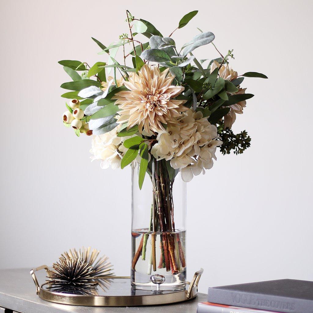 All Seasons Cream Dahlia, Hydrangea & Lamb's Ear Floral Arrangement in Glass Vase