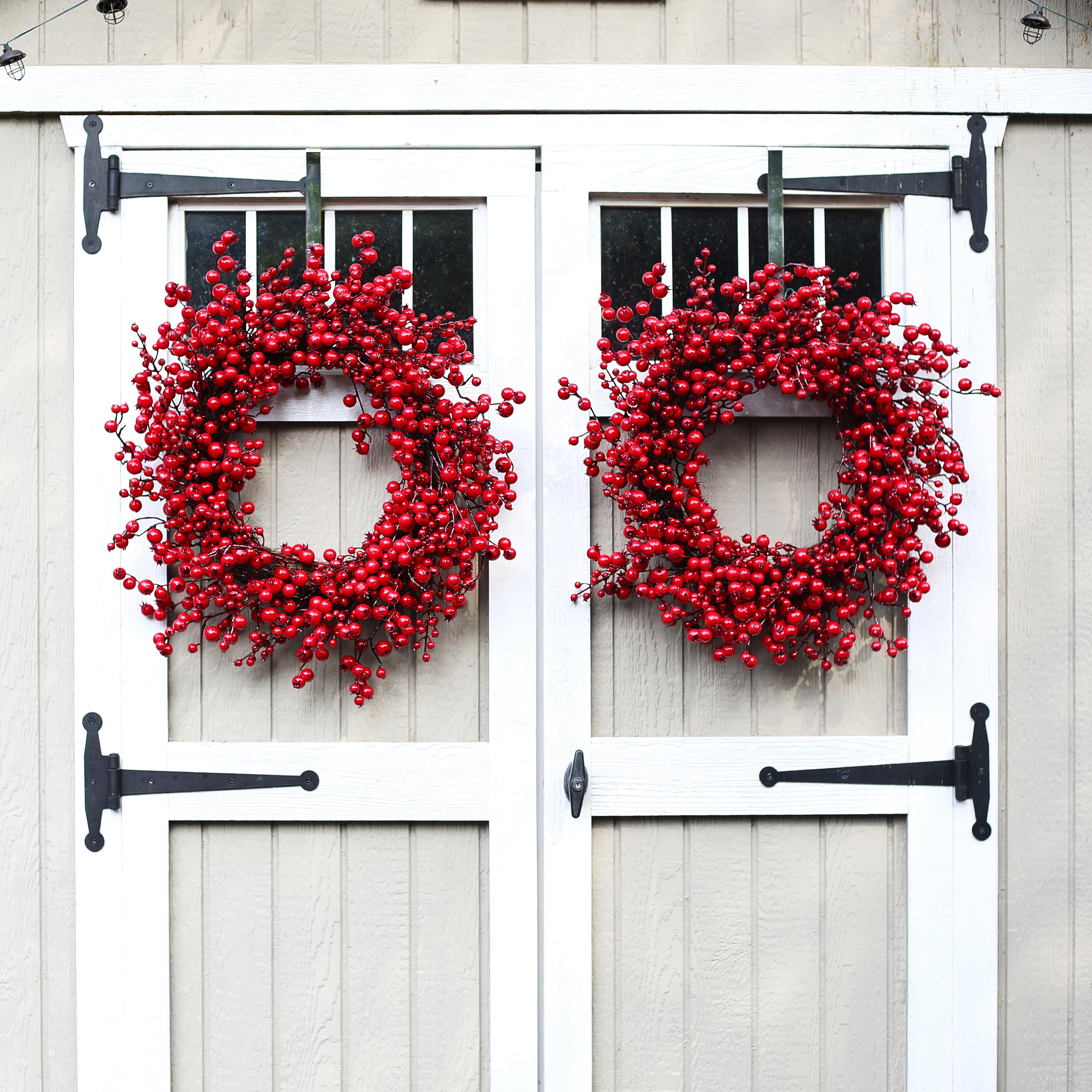 Waterproof Red Gooseberry Christmas Front Door Wreath 28 Inch