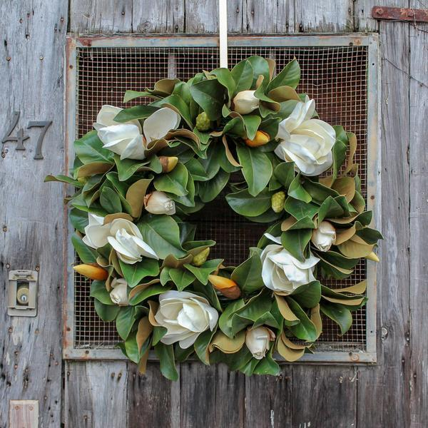 """Classic Real Touch White Magnolia Wreath 30"""""""