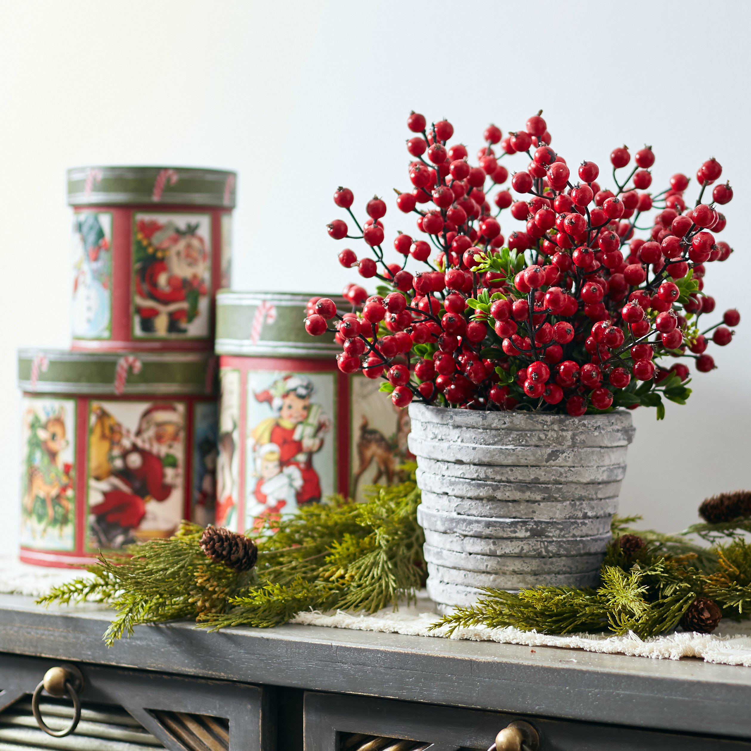 Red Christmas Berries & Boxwood Arrangement in Stoneware Pot
