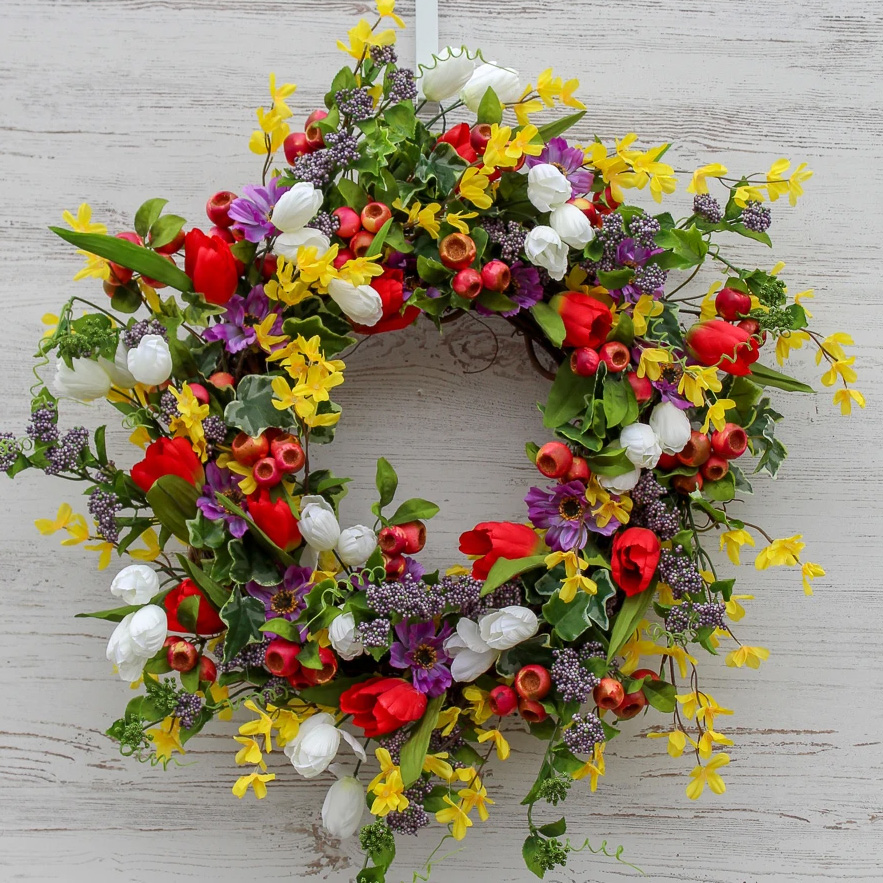 All Dressed Up Tulips, Forsythia & Berry Pods Spring Wreath