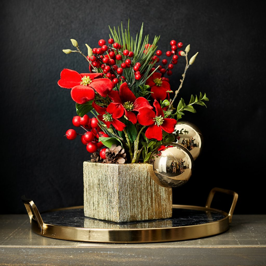 Red Velvet Dogwood, Gold Ball & Red Berry Christmas Centerpiece Arrangement in Textured Vase
