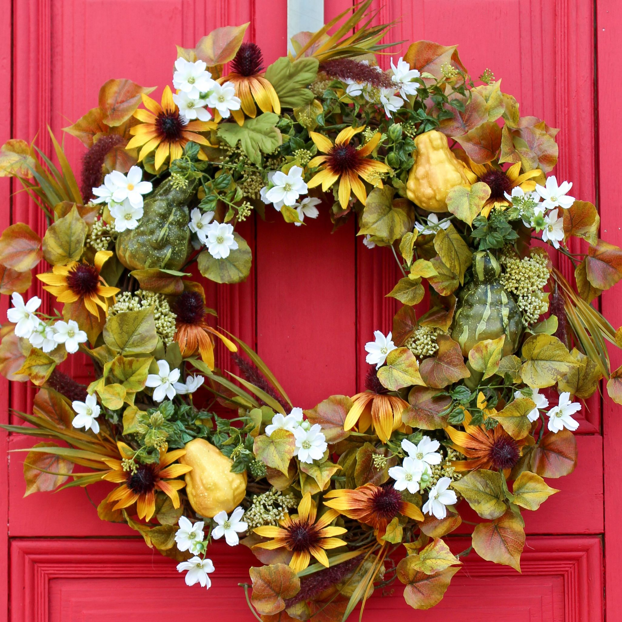 Golden Rudbeckia, Baby Cosmos & Gourd Front Door Fall Wreath