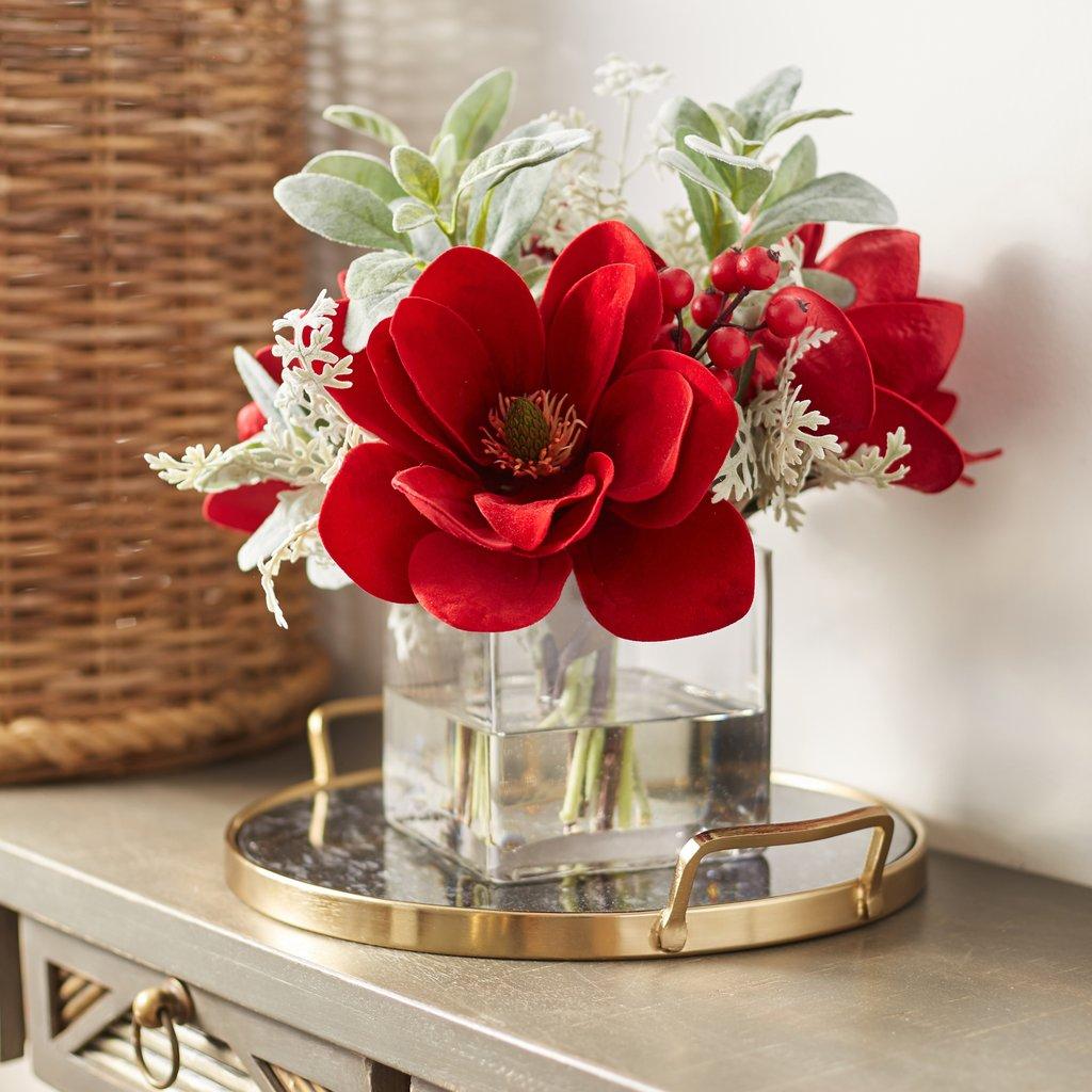 Large Christmas Red Velvet Magnolia, Berry & Lamb's Ear Arrangement in Square Glass Vase