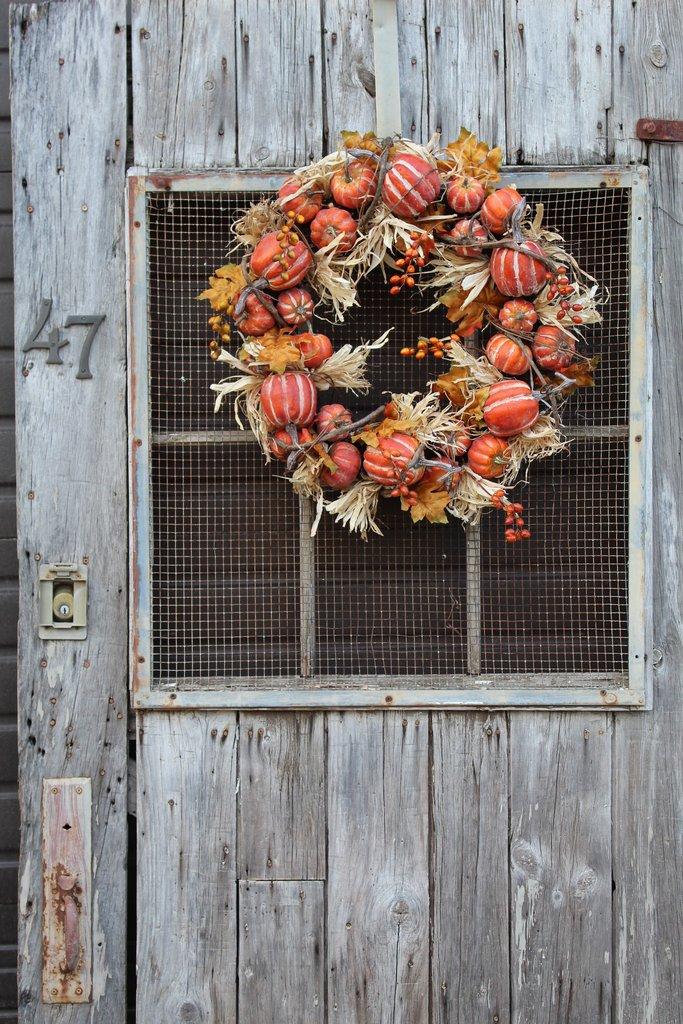 Pumpkin Patch, Corn Husk & Grapevine Front Door Fall Wreath