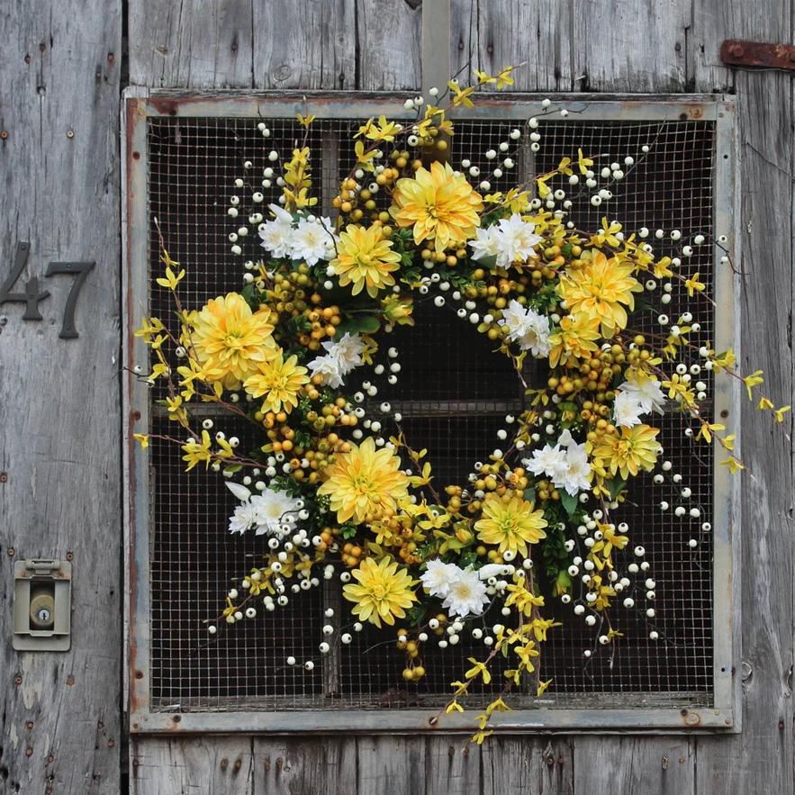 "Wild Yellow Forsythia, Cream Dahlia & Berry Spring Summer Front Door Wreath 30"""
