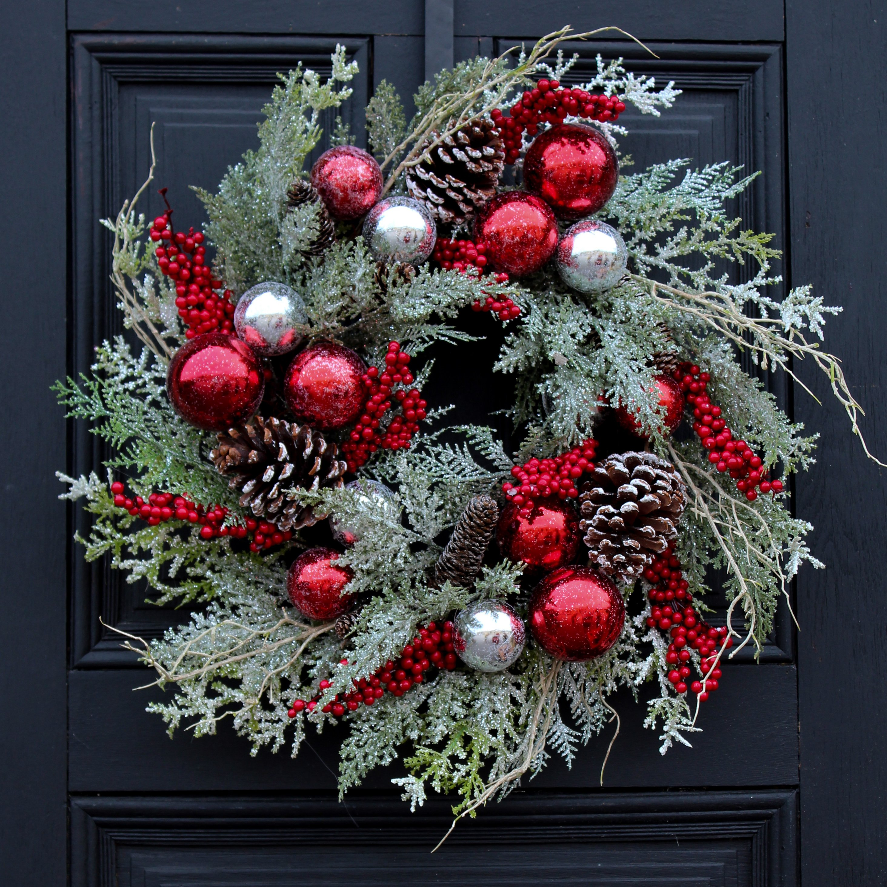 Frosted Cedar, Pinecone & Christmas Ball Front Door Holiday Wreath