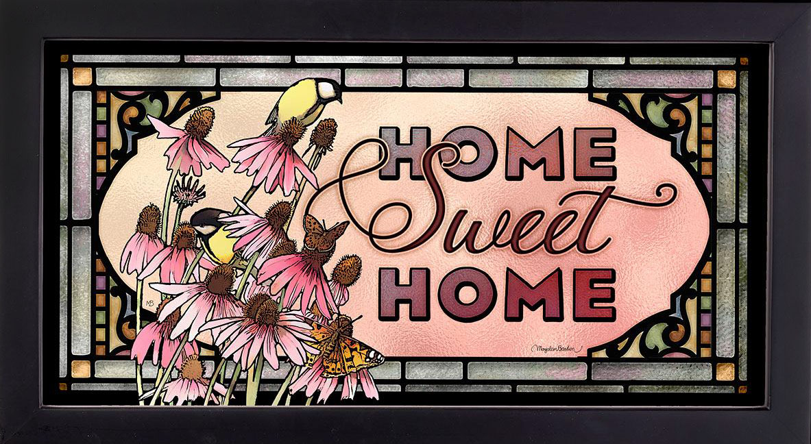 Goldfinch & Cone Flowers Home Sweet Home Stained Glass Art Hanging Panel