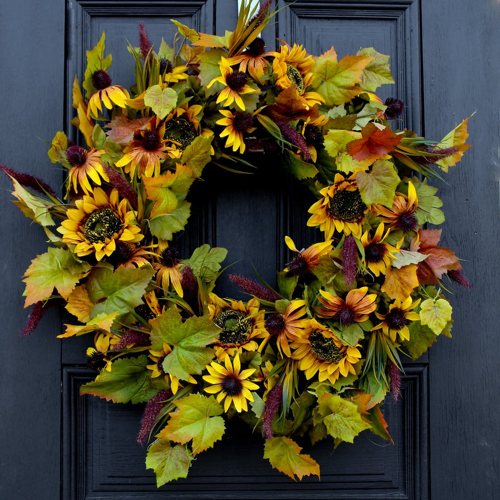 Gold Sunflowers & Rudbeckia with Cattails and Autumn Leaves Front Door Fall Wreath