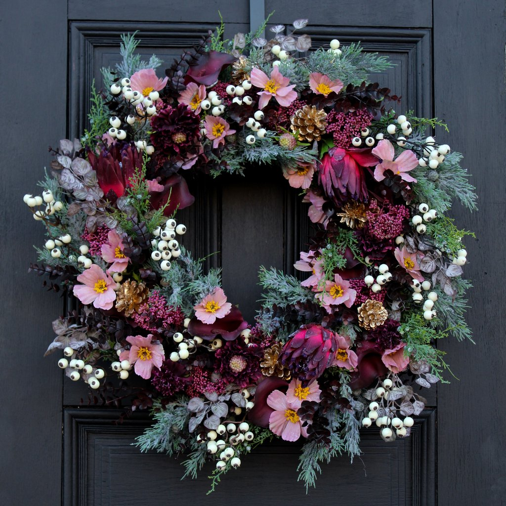 Burgundy Protea, Pink Cosmos & Calla Lily Front Door Christmas Estate Wreath 30""