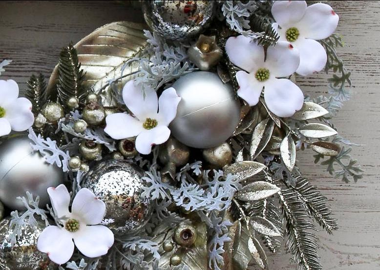 Silver Metallic Magnolia Leaves & White Velvet Dogwood Christmas Holiday Front Door Wreath