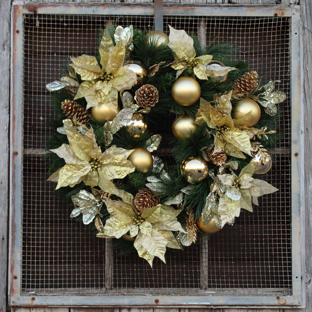 "Gold Glitz Poinsettia & Pinecone Front Door Christmas Wreath 26"""