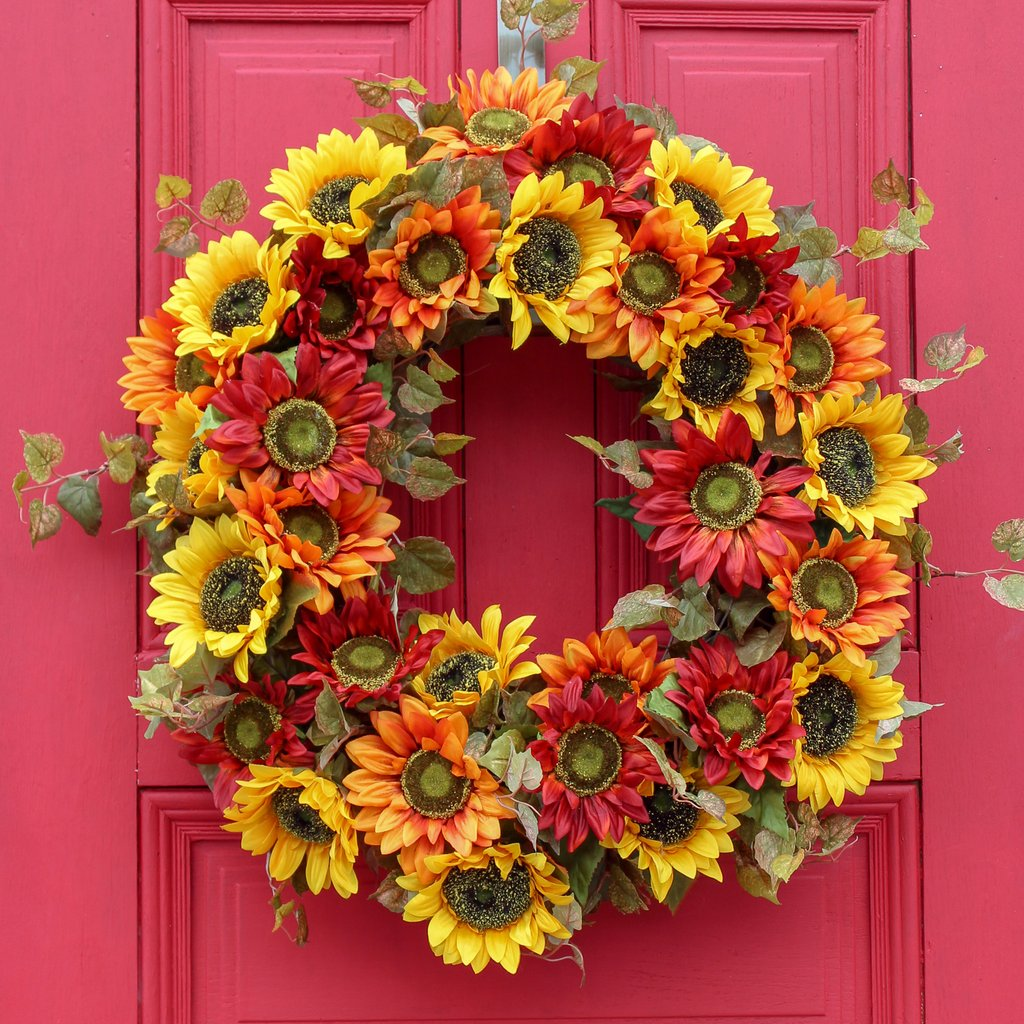 Yellow, Orange, and Red Sunflowers Galore & Grapevine Fall Front Door Wreath