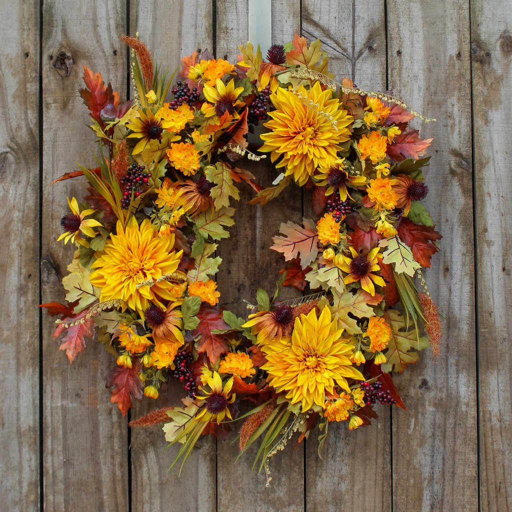 Grand Dahlia, Gold Cone Flower, & Foxtail Grass Front Door Fall Wreath